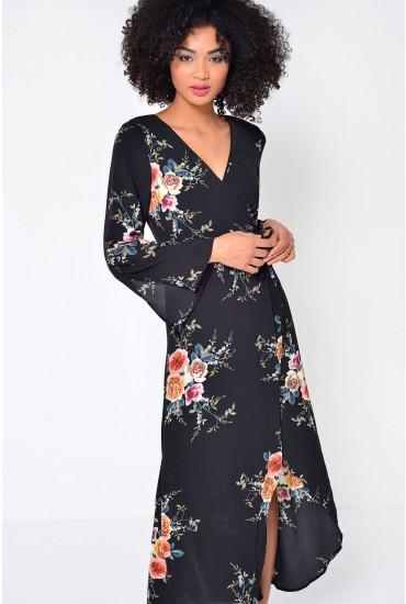 Casey Floral High Low Wrap Dress