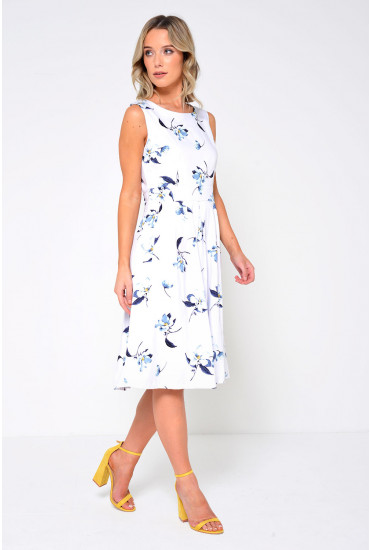 Simone Floral Pleated Dress in White