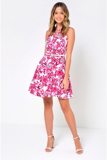 Cherry Halter Neck Skater Dress in Pink