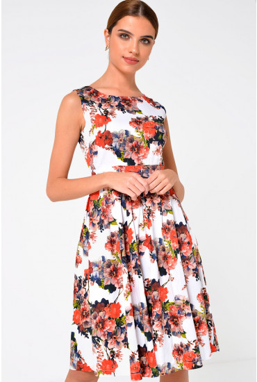 Coy Floral Pleated Dress in Orange