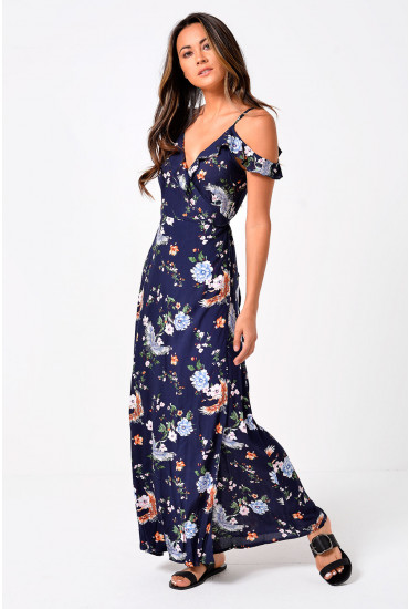 Dagny Cold Shoulder Maxi Dress in Navy