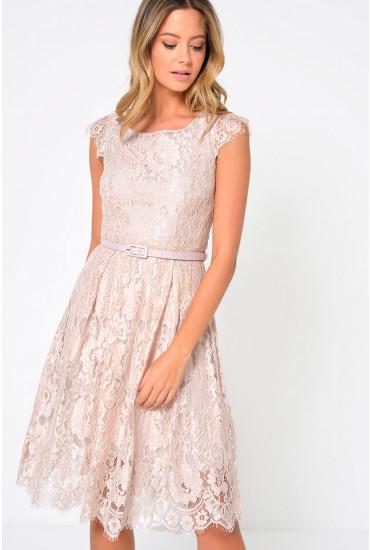 Lulu Lace Belted Dress in Beige