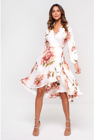Carter Wrap Front Midi Dress in Off White Floral