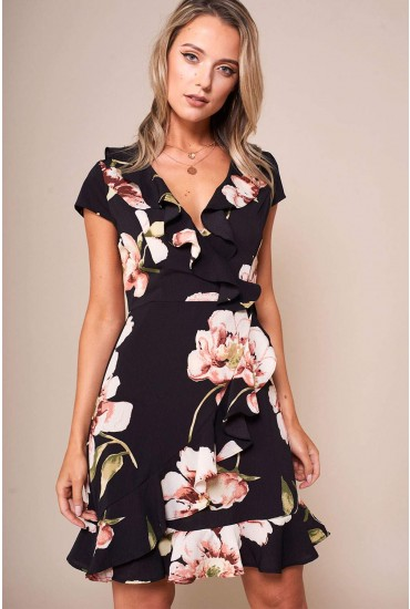 Lilly Floral Print Short Dress With Frill Hem in Black