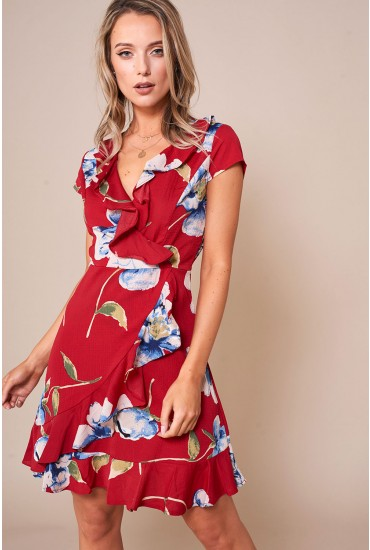Lilly Floral Print Short Dress With Frill Hem in Red