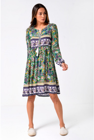 Judith Ethnic Tunic Dress in Green