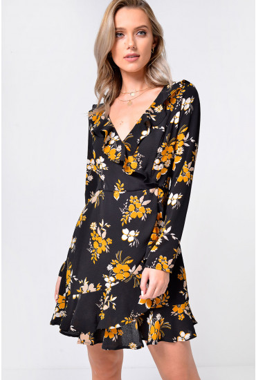Petal Frill Wrap Dress in Black