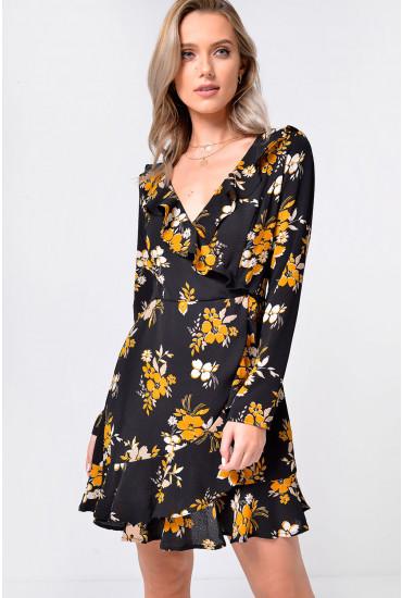 Petal Frill Wrap Dress in Black