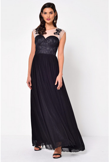 Mya Mesh Maxi Dress in Black