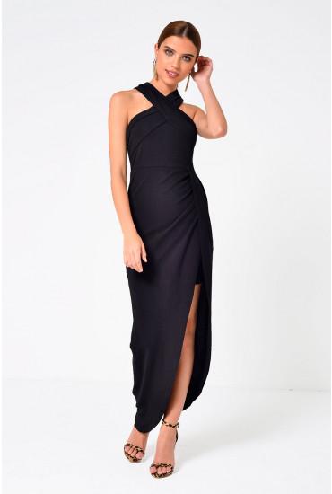 Juliet Cross Neck Maxi in Black