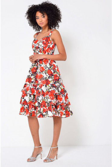 Rosita Fitted Bodice Floral Dress in Red