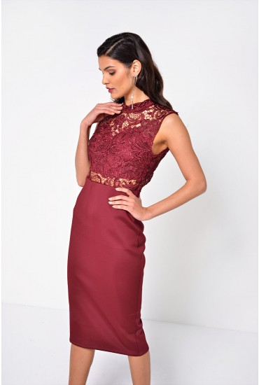 Francine Crochet Top Bodycon Dress in Burgundy