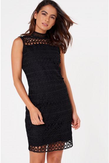Becca Crochet Bodycon Dress in Black