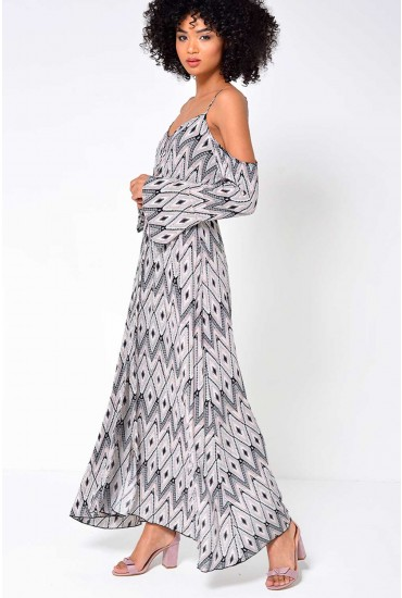 Tracey Cold Shoulder Printed Maxi Dress