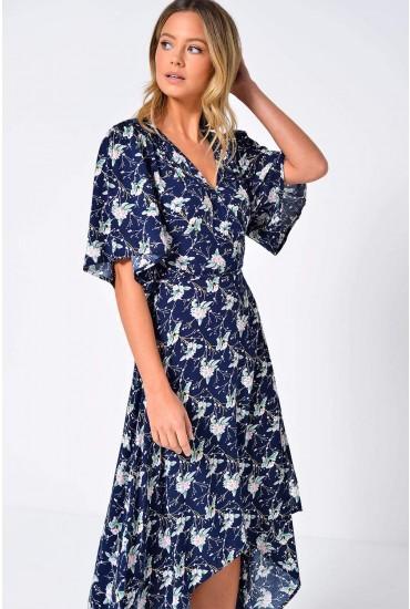 Thalia Floral Deep Hem Maxi Dress in Navy