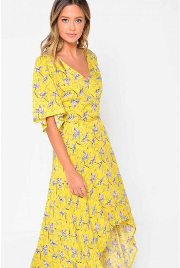 Thalia Floral Deep Hem Maxi Dress in Yellow