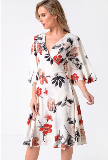 Rose Floral Printed Wrap Tea Dress in White