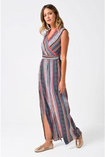 Kara Crochet Trim Stripe Maxi Dress