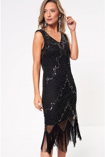 Jessica Sequin Dress with Tassel Detail in Black