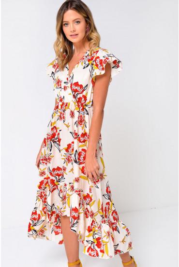 Rocha Frill Sleeve Floral Midi Dress in Cream