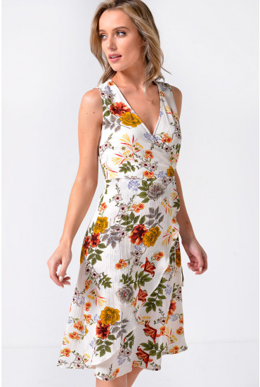 Bambina Floral Print Wrap Dress in White