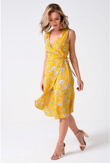 Bambina Floral Printed Wrap Dress in Mustard