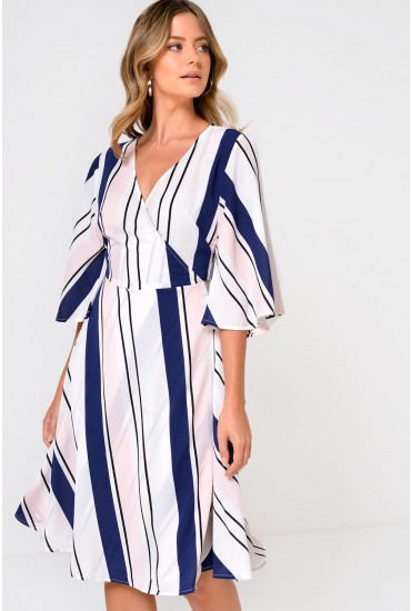 Silvia Stripe Printed Wrap Dress