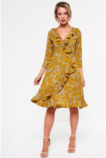 Ella Frill Midi Dress in Mustard