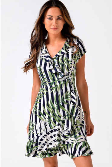 Bali Tropical Print Short Dress With Frill Hem in Navy Stripe