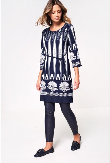 Celine Tunic Dress in Navy Abstract Print