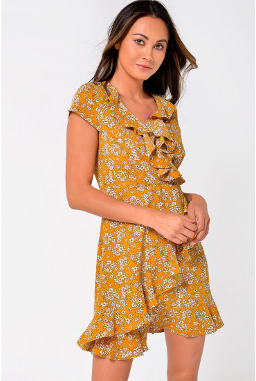 Lilly Floral Print Short Dress With Frill Hem in Mustard