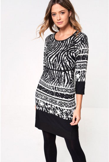 Sadie Printed Belt Dress in Monochrome