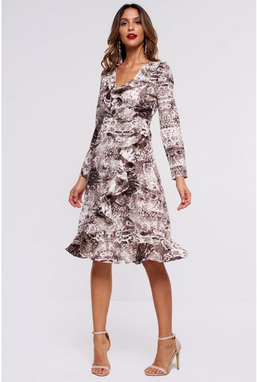 Cleo Frill Wrap Midi Dress in Snakeskin Print