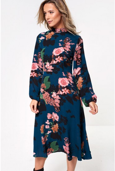 Jane High Neck Floral Midi Dress in Emerald