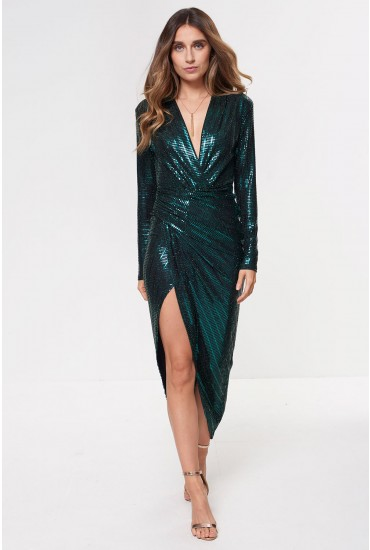Kim Deep V Midi Dress in Green Sequin