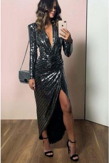 Kim Deep V Midi Dress in Silver Sequin