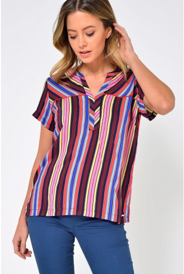 Deja S/L Striped Top