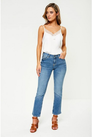 Delly Crop Flare Jeans in Light Blue Denim