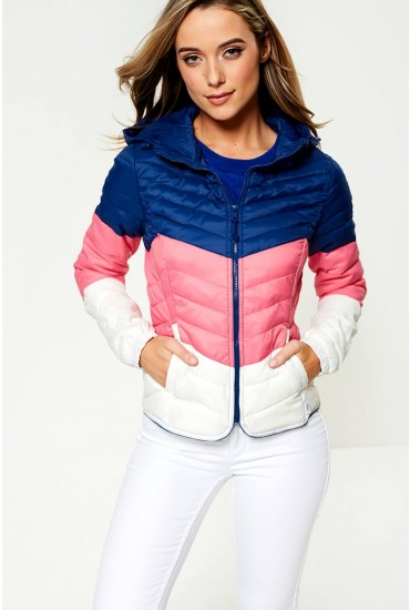 Demi Short Padded Jacket in Colour Block