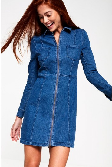Lisa Denim Dress with Zip Front in Mid Wash Blue