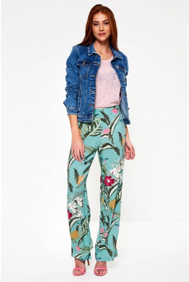 Simply Floral Print Wide Leg Trousers in Mint