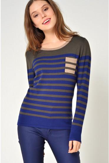 Diane Striped Lurex Knit in Khaki