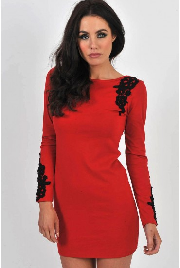 Dorothy Long Sleeved Bodycon Dress in Red