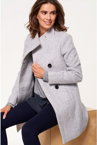 Line Double Breasted Wool Coat in Grey