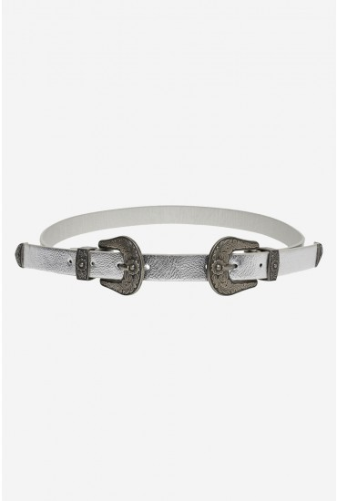 Laura Double Buckle Western Jeans Belt in Silver Metallic