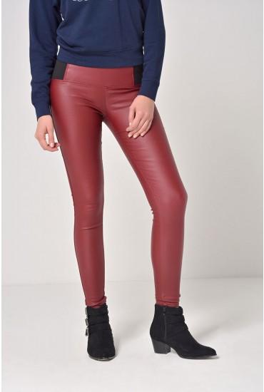 Celine Elastic Waist Coated Trousers in Burgundy