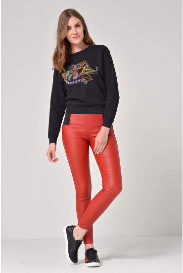 Celine Elastic Waist Coated Trousers in Red