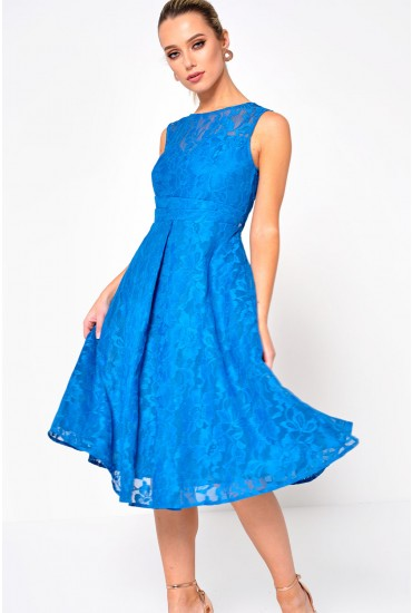 Karlie Lace Skater Dress in Teal