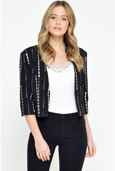 Roni Geo Print Blazer in Black