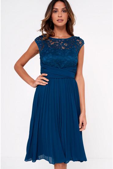 Donna Lace Chiffon Pleated Dress in Dark Teal